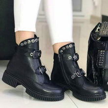 Load image into Gallery viewer, Women Round Toe Buckle Casual Pu Low Heel Spring Motor Ankle Boots