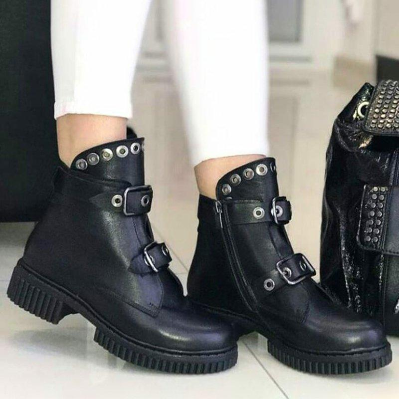Women Round Toe Buckle Casual Pu Low Heel Spring Motor Ankle Boots