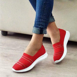 Women Slide Fabric All Season Flat Heel Sneakers