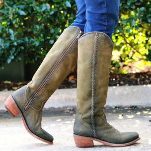 Women Round Toe Vintage Chunky Heel Spring/fall Zipper Pu Knee Boots