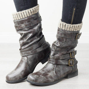 Women Round Toe Slide Chunky Heel Spring Buckle Casual Boots