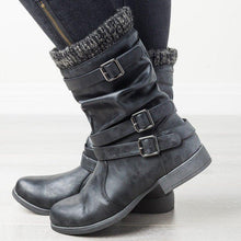 Load image into Gallery viewer, Women Round Toe Slide Chunky Heel Spring Buckle Casual Boots