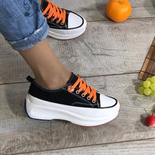 Load image into Gallery viewer, Women Round Toe Lace-Up All Season Wedge Heel Creeper Sneakers