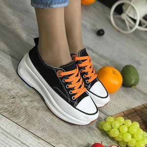 Women Round Toe Lace-Up All Season Wedge Heel Creeper Sneakers