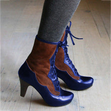 Load image into Gallery viewer, Women Round Toe Stiletto Heel Pu Lace-Up Winter Boots