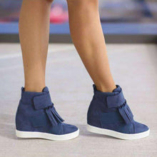Load image into Gallery viewer, Women Round Toe Slide Pu All Season Removable Tassel Sneakers