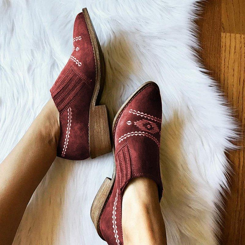 Women Pointed Toe Slide Embroidery Chunky Heel Artificial Suede Ankle Boots