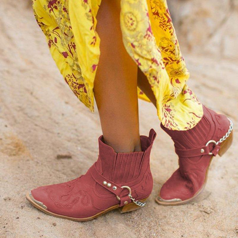 Women Pointed Toe PU Vintage Casual Chunky Heel All Season Ankle Boots