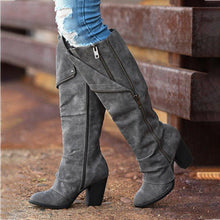 Load image into Gallery viewer, Women Round Toe Zipper Artificial Suede Chunky Heel Casual Knee Boots