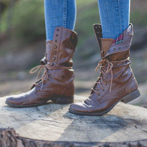 Women Lace Up Round Toe Chunky Heel Pu Casual Combat Boots