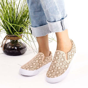 Women Round Toe Slide Flat Heel Sequin Casual Loafers