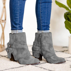 Women Round Toe Zipper Winter Casual Chunky Heel Ankle Boots