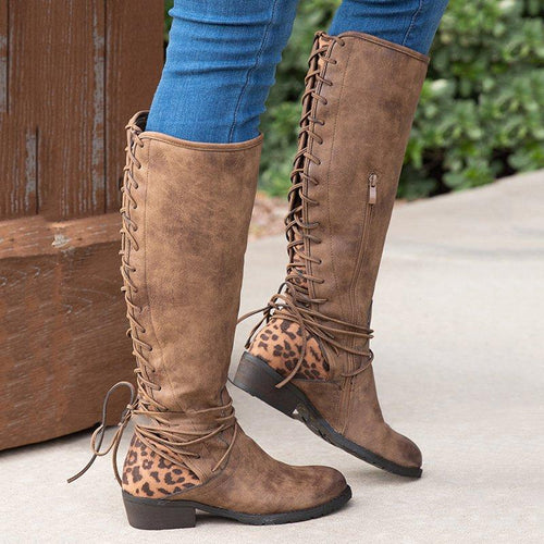 Women Round Toe Back Side Lace-Uo Outdoor Chunky Heel Knee Boots