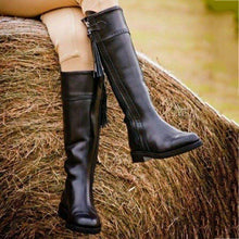 Load image into Gallery viewer, Zipper Pu Chunky Heel Boots
