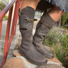 Load image into Gallery viewer, Women Round Toe Vintage Low Heel Pu Zipper Casual Mid-Calf Boots