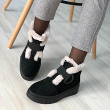 Load image into Gallery viewer, Women Round Toe Snow Boots Artificial Suede Casual Winter Flat Heel Shoes