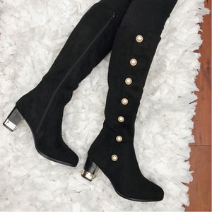 WomenRound Toe Mid-Calf Boots Casual Artificial Suede Chunky Heel Zipper Shoes