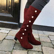 Load image into Gallery viewer, WomenRound Toe Mid-Calf Boots Casual Artificial Suede Chunky Heel Zipper Shoes