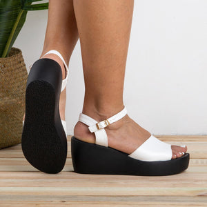 New Women's Peep Toe Wedges Adjustable Buckle Plus Size Sandals