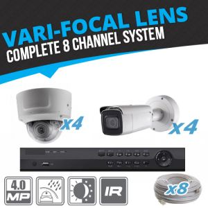 Complete 8 Channel 4MP Vari-Focal Bullet & Dome IP Surveillance System