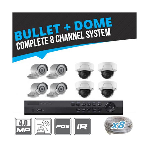 Complete 8 Channel 4MP Bullet & Dome IP Surveillance System