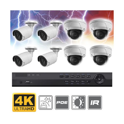 Complete 8 Channel 4K Ultra HD (8MP) Bullet + Dome IP Surveillance System