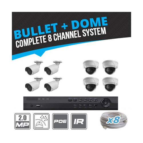 Complete 8 Channel 2MP Bullet & Dome IP Surveillance System