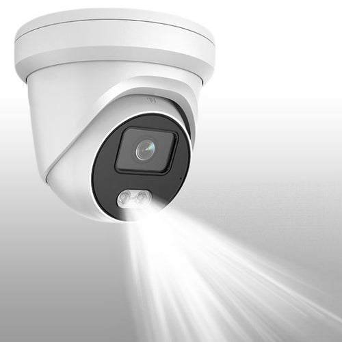 4MP Extreme Low Light IP POE Weatherproof Turret Camera W/ Integrated Flood Light & Microphone