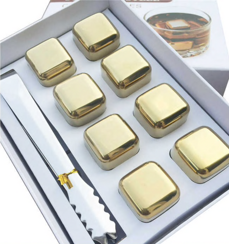 8pcs Gold Ice Cubes for Drinks