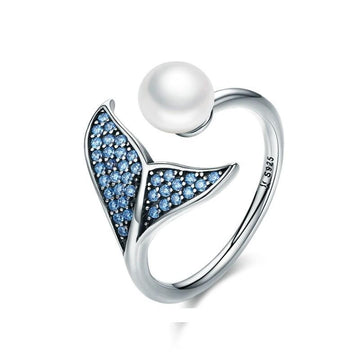 Save Sea Life Jewelry | Sterling Pearl Whale Tail Ring