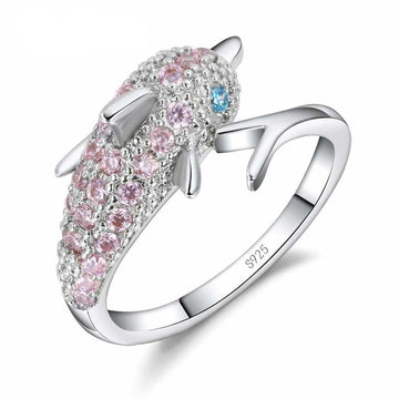 Sterling Silver Ocean Jewelry | Pink Crystal Dolphin Ring
