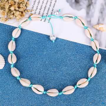 Boho Ocean Jewelry | Natural Shell Choker Blue Necklace