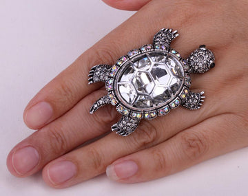 Giant Tortoise Jewelry |  Sea Turtle Crystal Center Ring