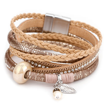 Boho Braided Leather Wrap | Natural Pearl Bead Bracelet