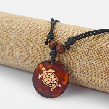 Carved Tribal Tortoise Necklace | Wooden Sea Turtle Pendant