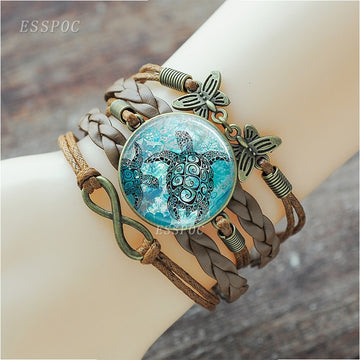 Braided Leather Bracelet Set | Sea Life Glass Mural Pendant