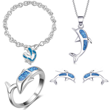 Save the Dolphins Opal Jewelry | Ocean Bracelet Necklace Earring Set