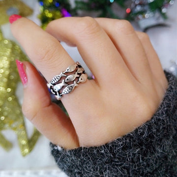 Bohemian Vintage Jewelry | Sterling Silver Fish School Ring