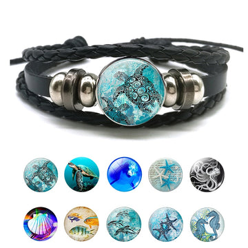 Black Braided Leather Bracelet | Sea Life Glass Mural Pendant