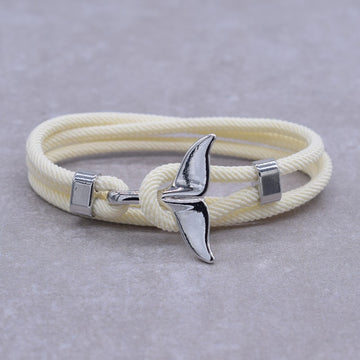 Save the Whales Jewelry | Silver Whale Tail Charm Bracelet