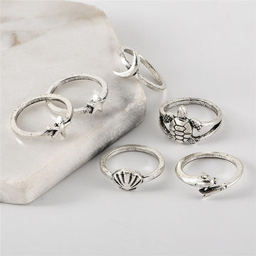 Save Sea Life Jewelry | Boho Beach Ring Set