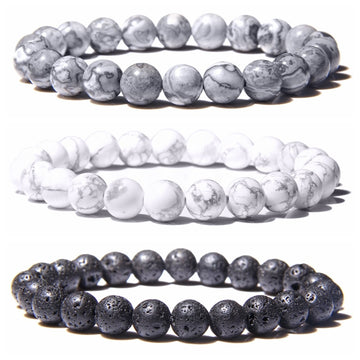 Natural Stone Beaded Bracelet | Black Lava Rock Jewelry for Men Women