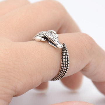 Saltwater Crocodile Boho Ring in Bronze or Silver