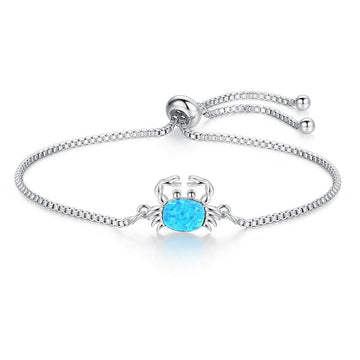 Blue Opal Crystal Bracelets For Women | Silver Chain Crab Charm