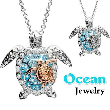 Mother Baby Sea Turtle Pendant  |  Sterling Silver Necklace