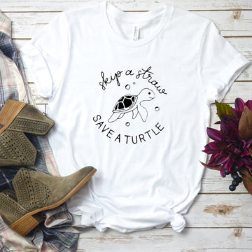 Skip A Straw Save A Turtle Apparel | Sea Turtle Shirt for Women