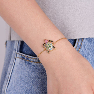 Stylish Sea Turtle Bling Bracelet | Tortoise Crystal Pendant