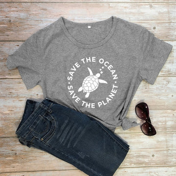 Save The Ocean Save The Planet Sea Turtle Print Graphic Eco Tee Top O-Neck Cotton 7 Colors