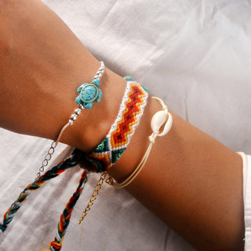 Boho Sea Life Wrap | Handmade Weave Sea Turtle Bracelet Set