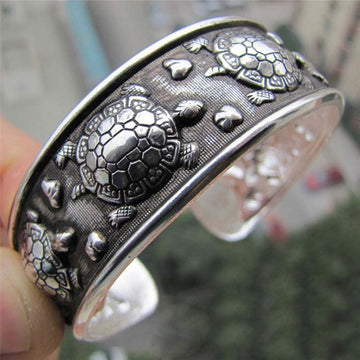 Antique Silver Plated Tibetan Cuff | Sea Turtle Metal Bracelet